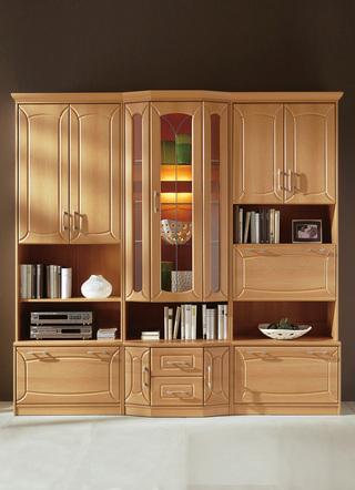 klassische wohnwand mit front in buchedekor wohnzimmer. Black Bedroom Furniture Sets. Home Design Ideas